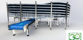 Cooling spiral belt conveyor for bakery products